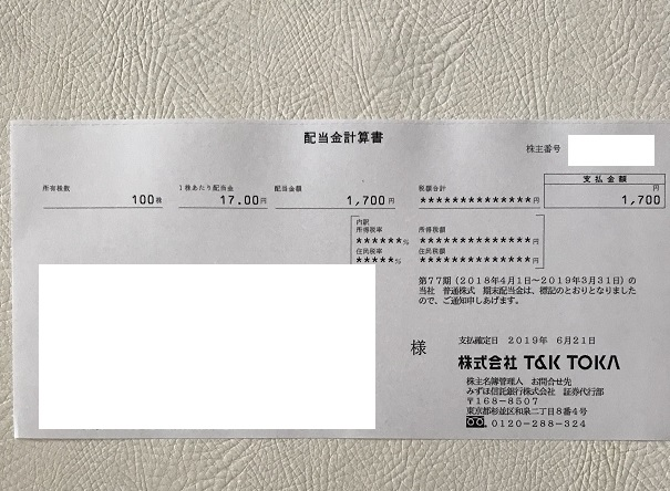 T&K TOKA 株主優待 2019