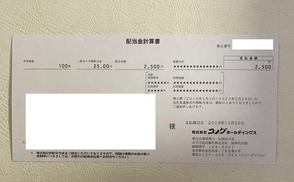 コメダ 株主優待 2019