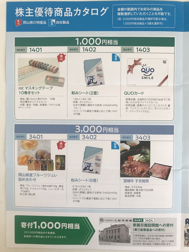 萩原工業 株主優待 2020